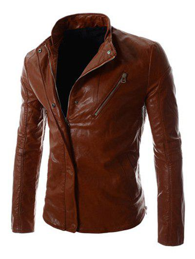 Buttons and Zipper Design Stand Collar Long Sleeve PU-Leather Men's Jacket - BROWN M