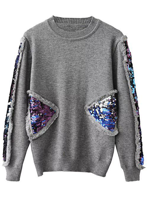 Pullover Sequined Spliced Fringed Sweater - GRAY ONE SIZE