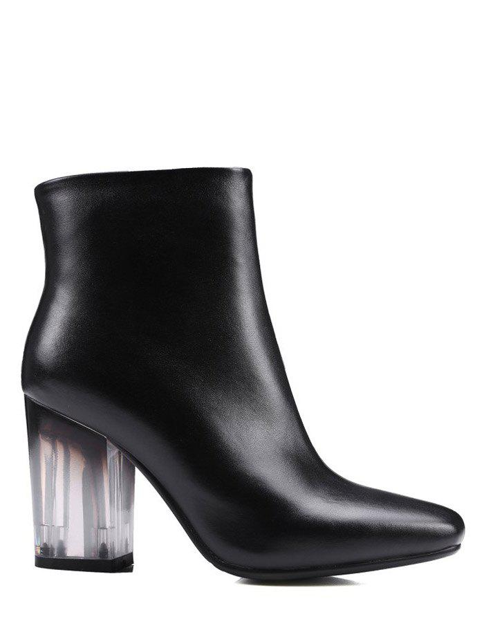 Zipper Square Toe Clear Heel Ankle Boots - BLACK 39