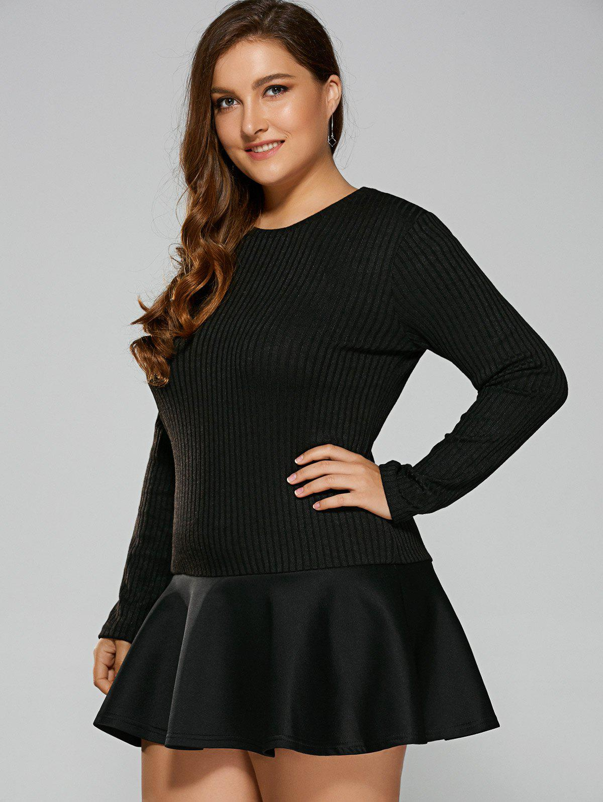 Plus Size Long Sleeve Flounced Mermaid Dress - BLACK 4XL