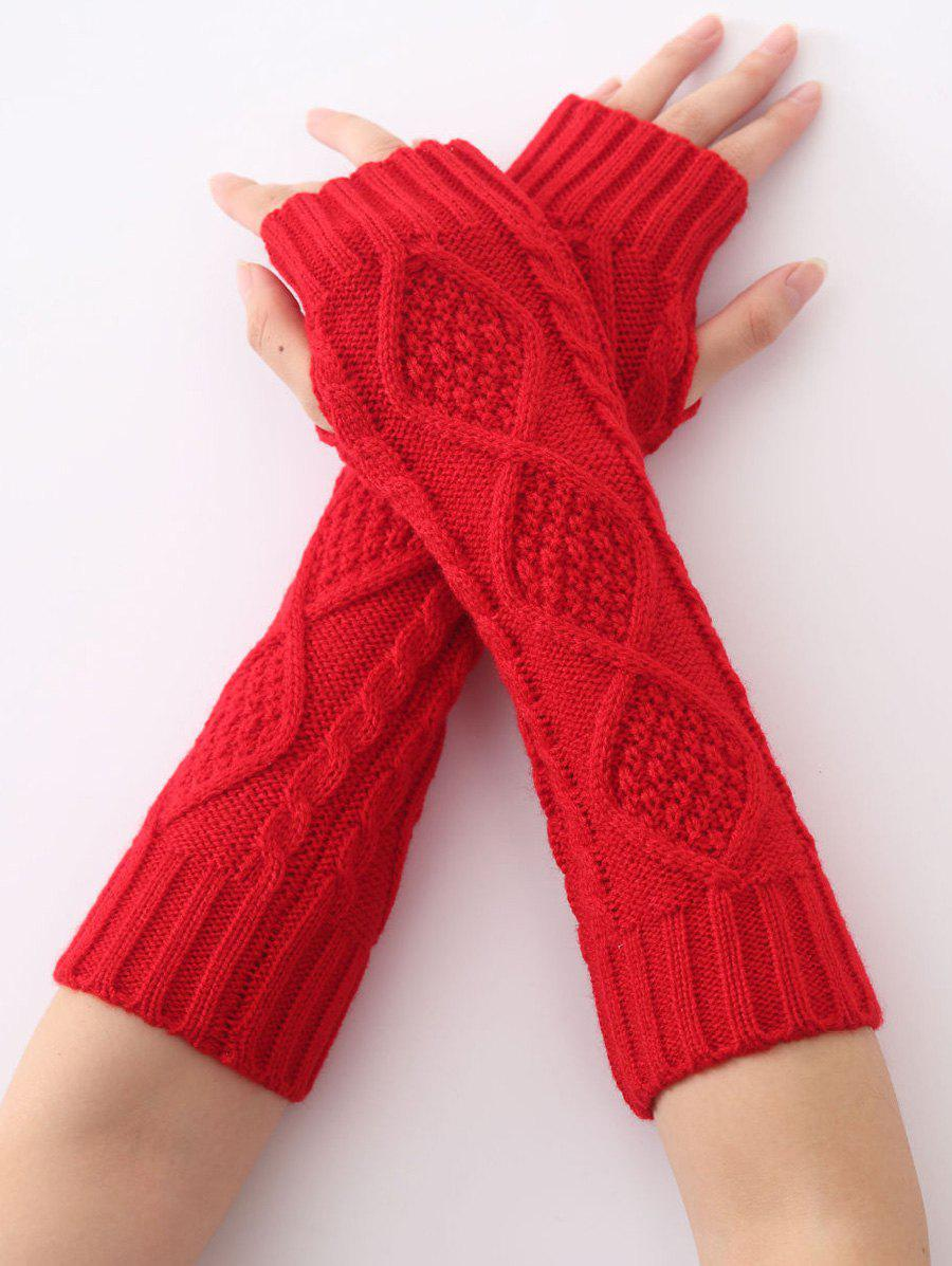 Christmas Winter Warm Diamond Hollow Out Crochet Knit Arm Warmers - RED