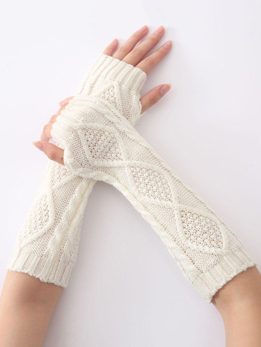 Christmas Winter Warm Diamond Hollow Out Crochet Knit Arm Warmers - WHITE