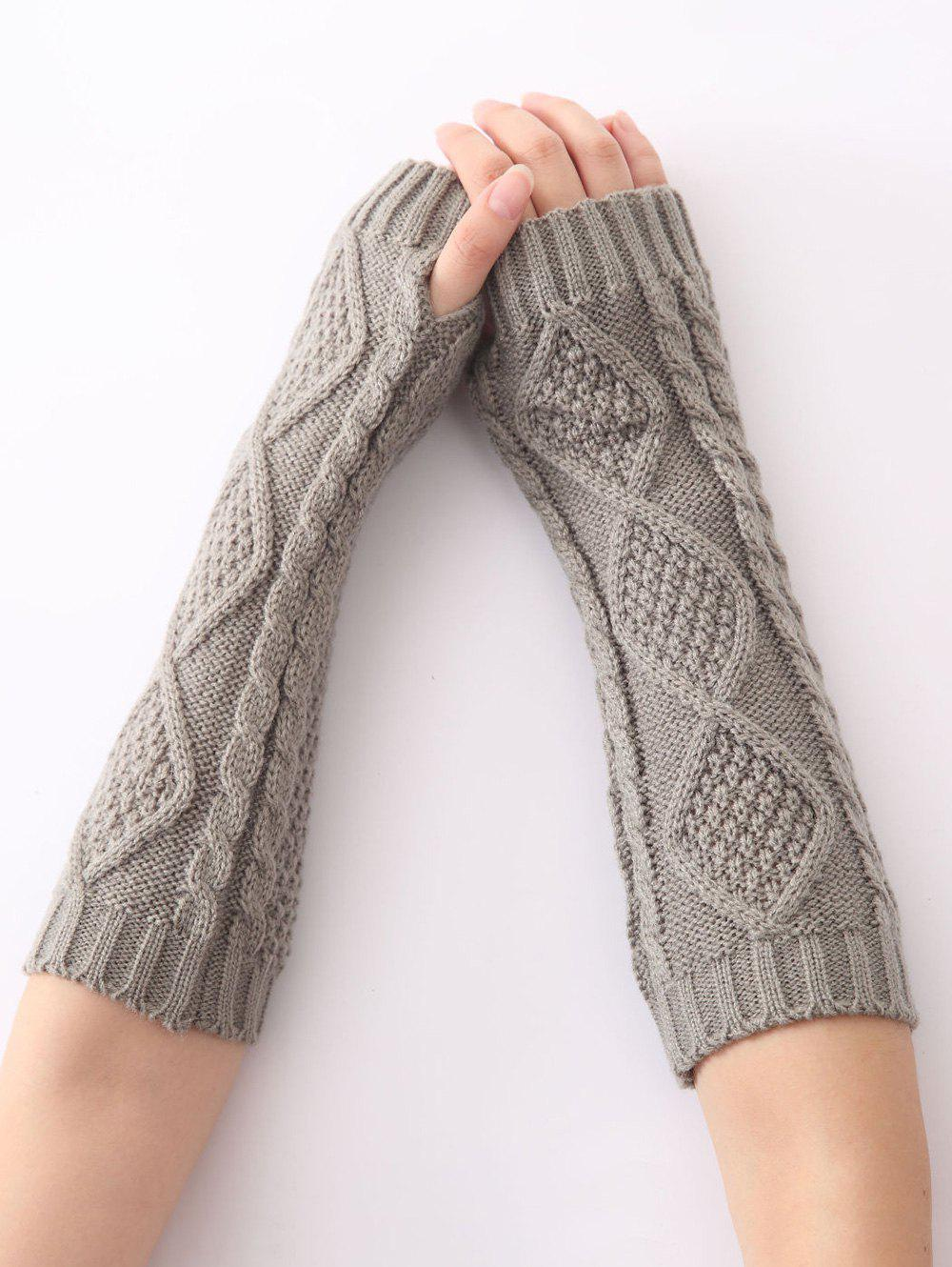 Christmas Winter Warm Diamond Hollow Out Crochet Knit Arm Warmers - LIGHT GRAY