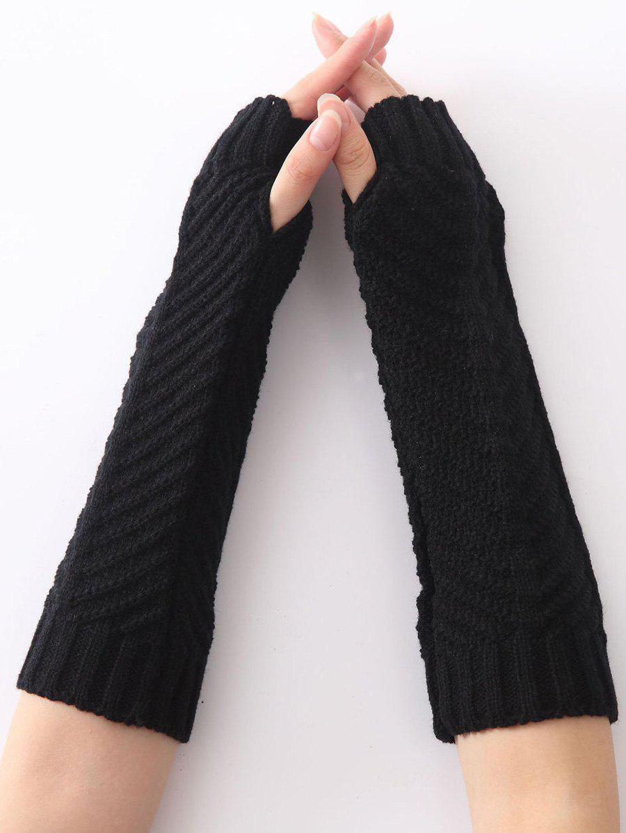 Winter Warm Fishbone Crochet Knit Arm Warmers - BLACK