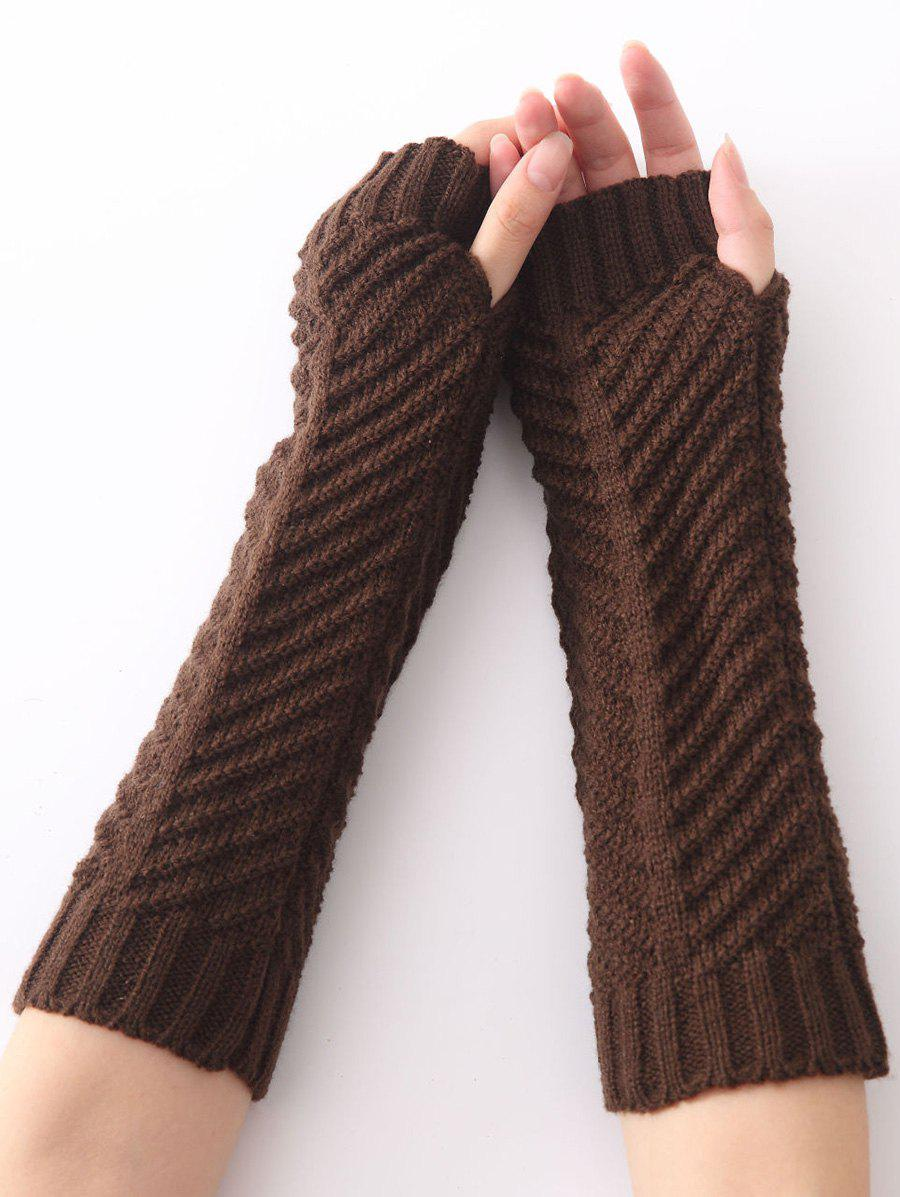 Christmas Winter Warm Fishbone Crochet Knit Arm Warmers - COFFEE