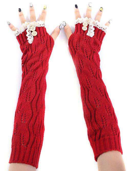 Christmas Winter Warm Lace Buttons Hollow Out Crochet Knit Arm Warmers - RED