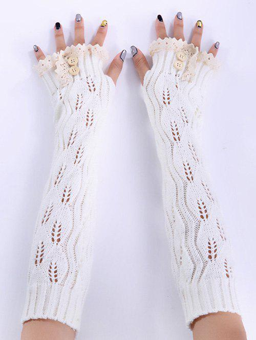 Christmas Winter Warm Lace Buttons Hollow Out Crochet Knit Arm Warmers - WHITE