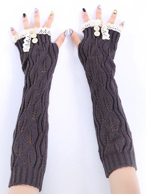Christmas Winter Warm Lace Buttons Hollow Out Crochet Knit Arm Warmers - DEEP GRAY