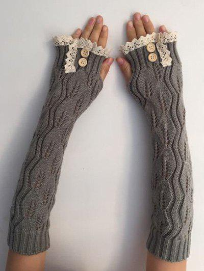 Christmas Winter Warm Lace Buttons Hollow Out Crochet Knit Arm Warmers - LIGHT GRAY