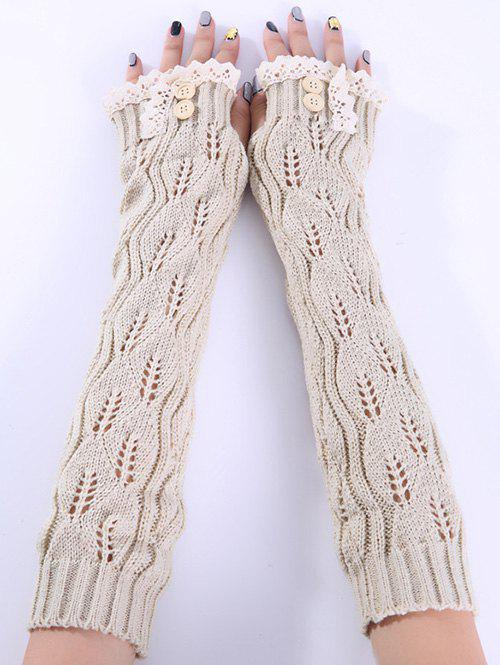 Christmas Winter Warm Lace Buttons Hollow Out Crochet Knit Arm Warmers - BEIGE