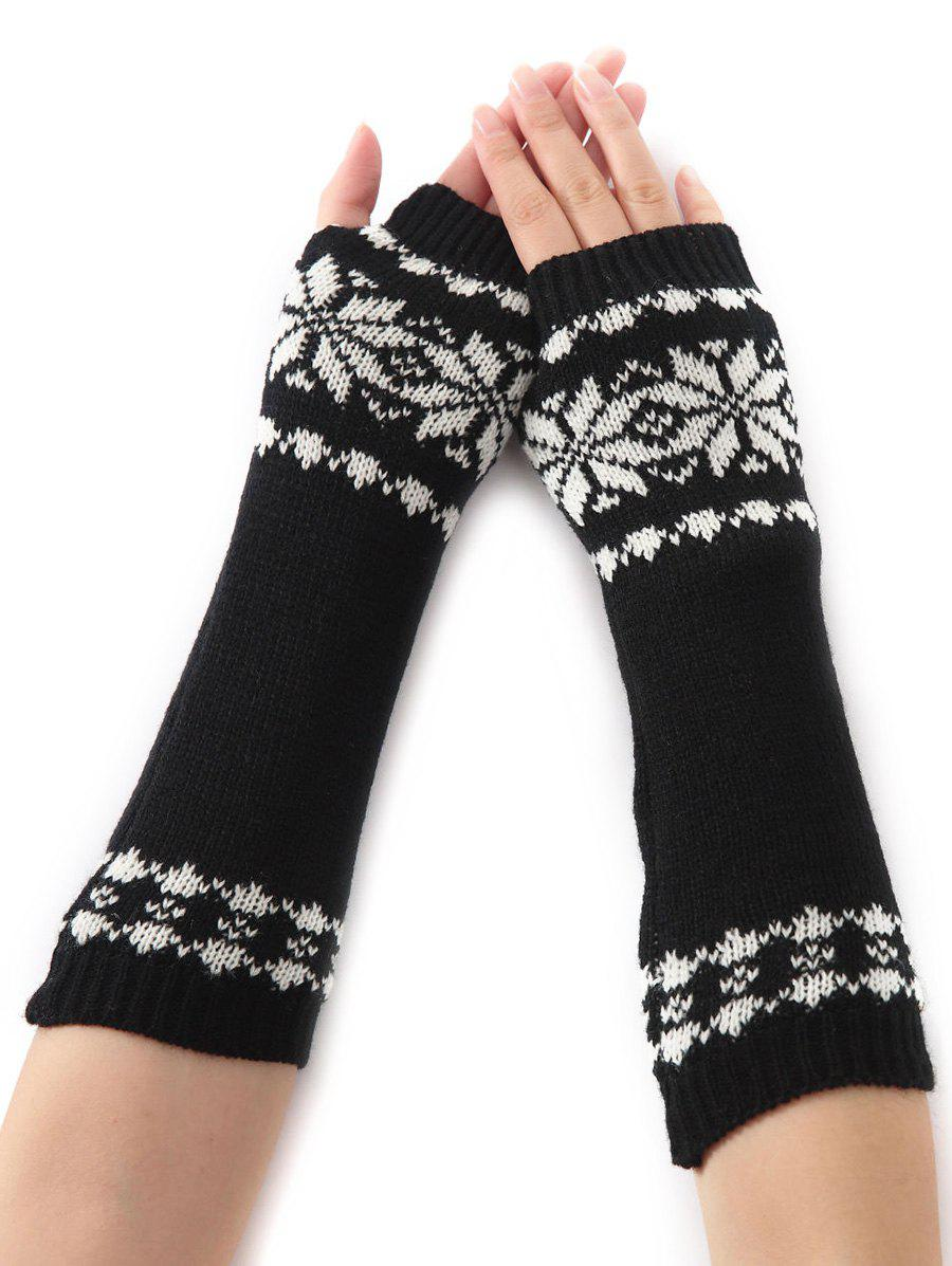 Christmas Winter Warm Snow Floral Crochet Knit Arm Warmers - BLACK