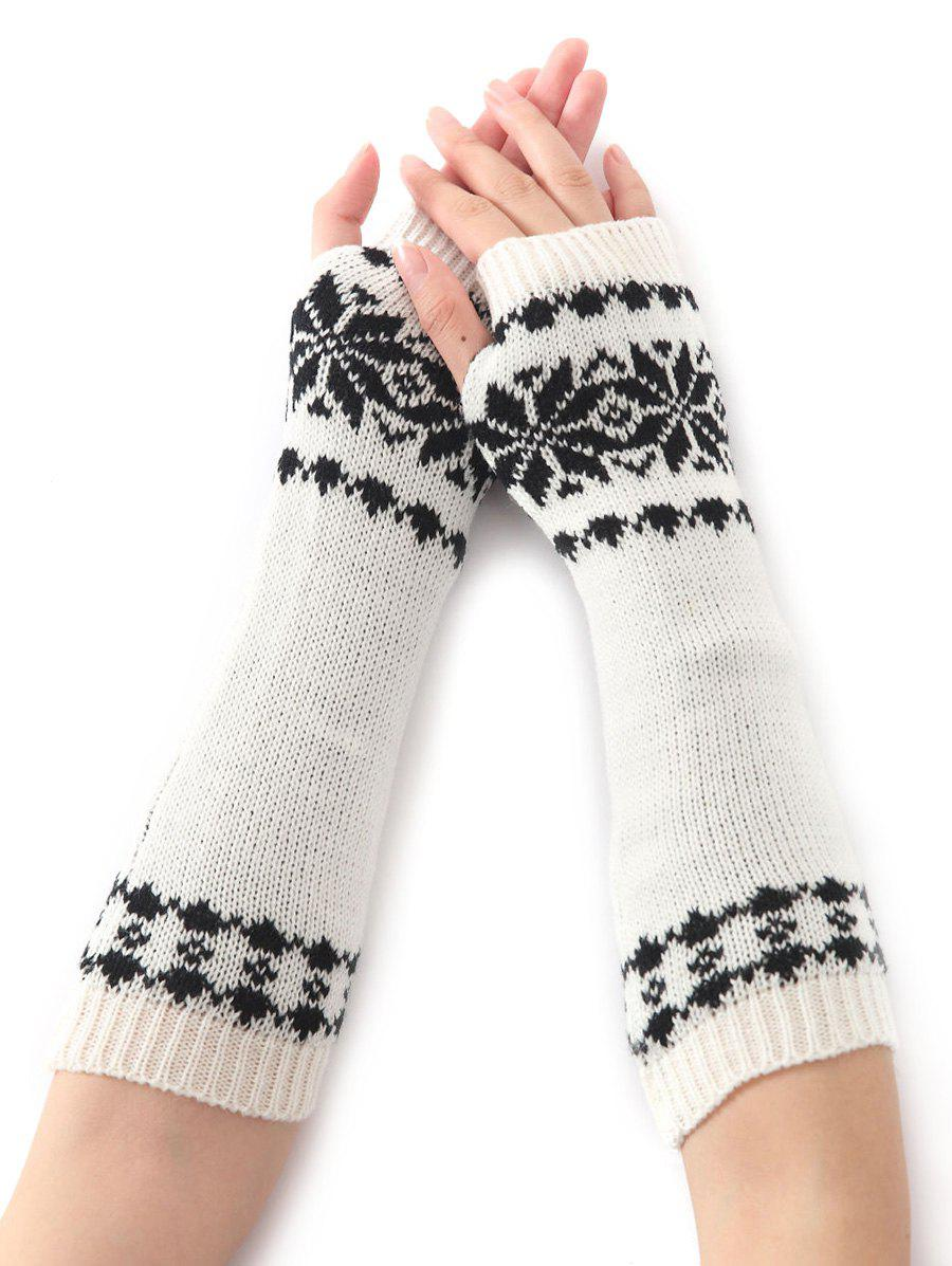 Christmas Winter Warm Snow Floral Crochet Knit Arm Warmers - WHITE