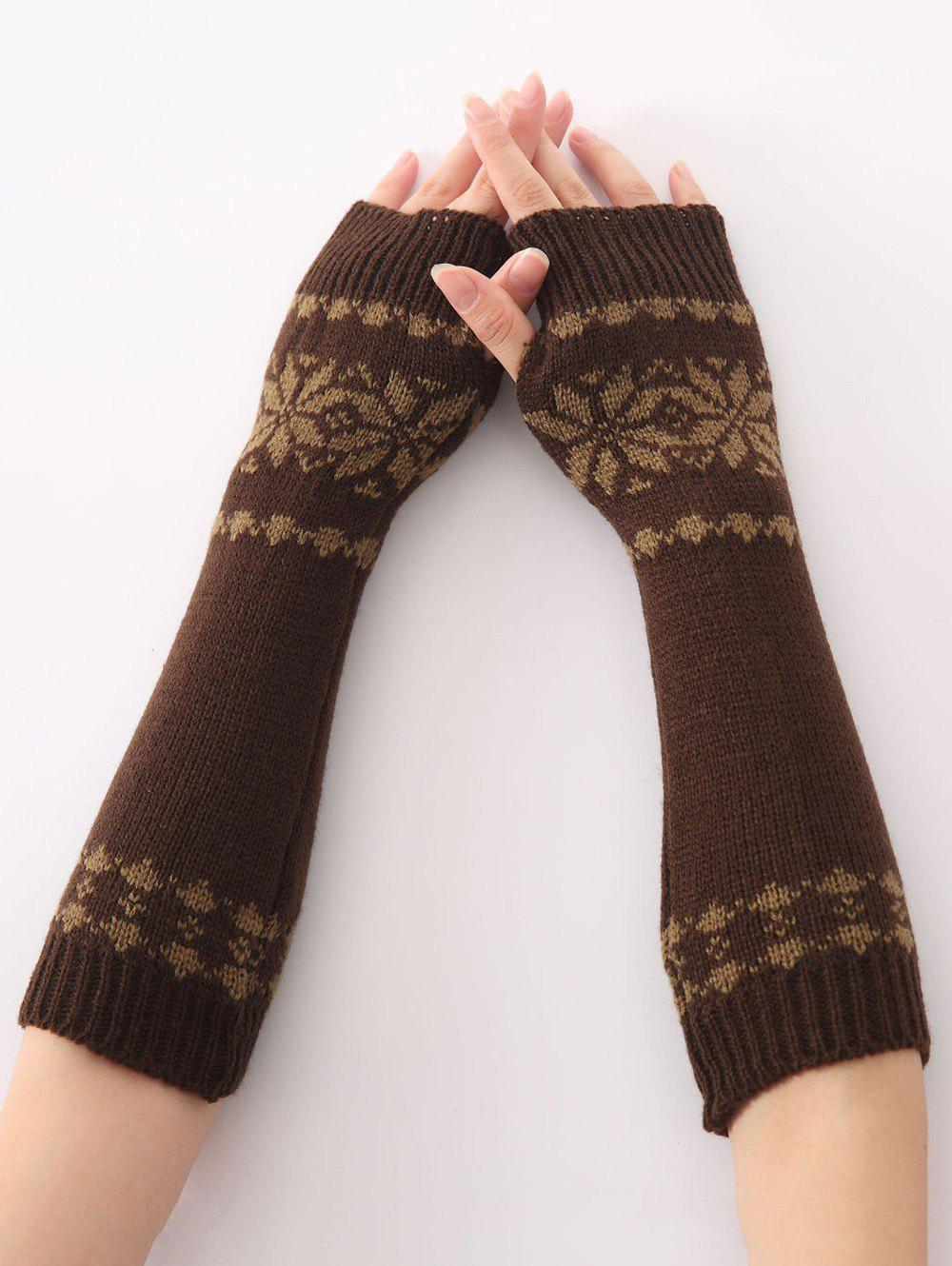 Christmas Winter Warm Snow Floral Crochet Knit Arm Warmers