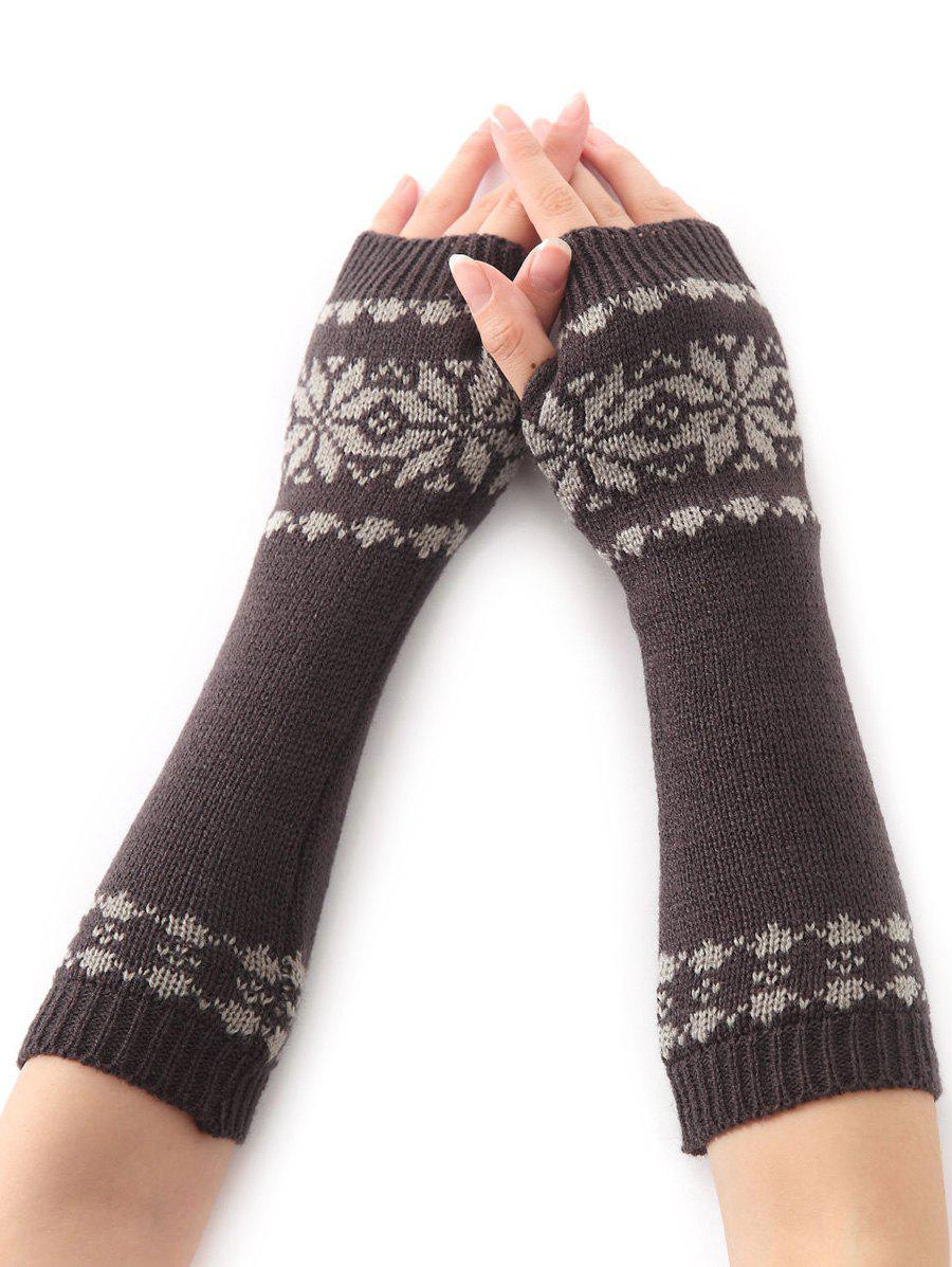 Christmas Winter Warm Snow Floral Crochet Knit Arm Warmers - DEEP GRAY