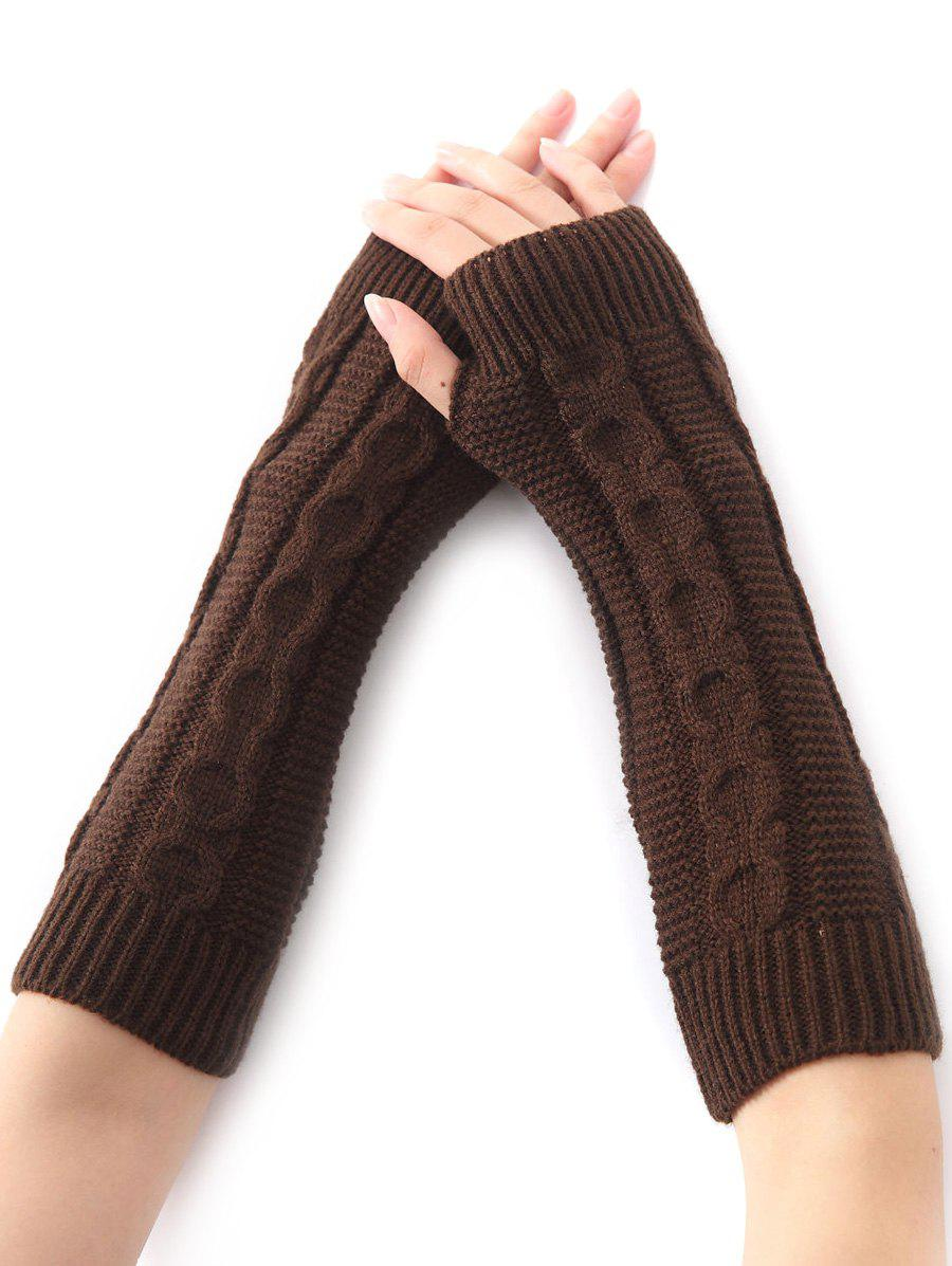 Christmas Winter Warm Hemp Decorative Pattern Crochet Knit Arm Warmers - COFFEE