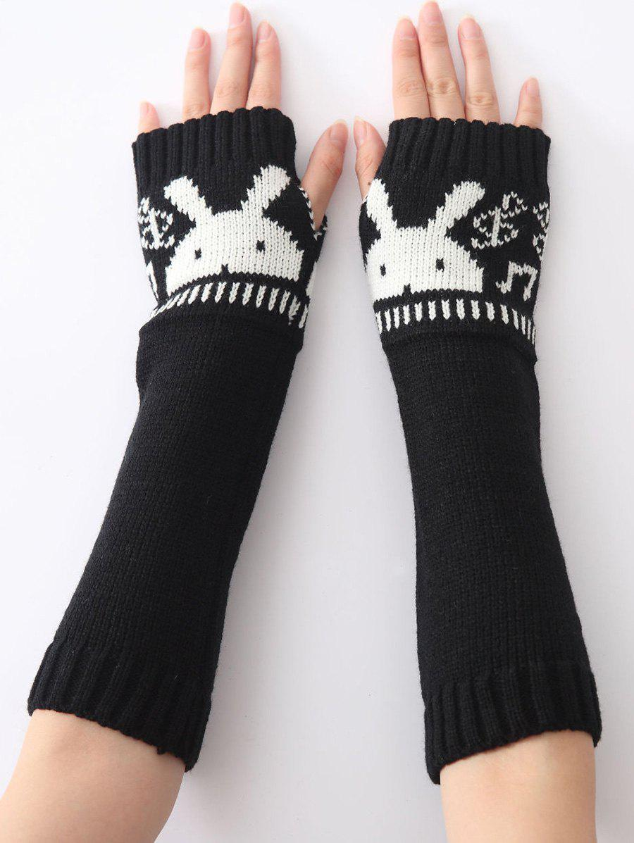 Christmas Winter Warm Rabbit Head Hollow Out Crochet Knit Arm Warmers - BLACK