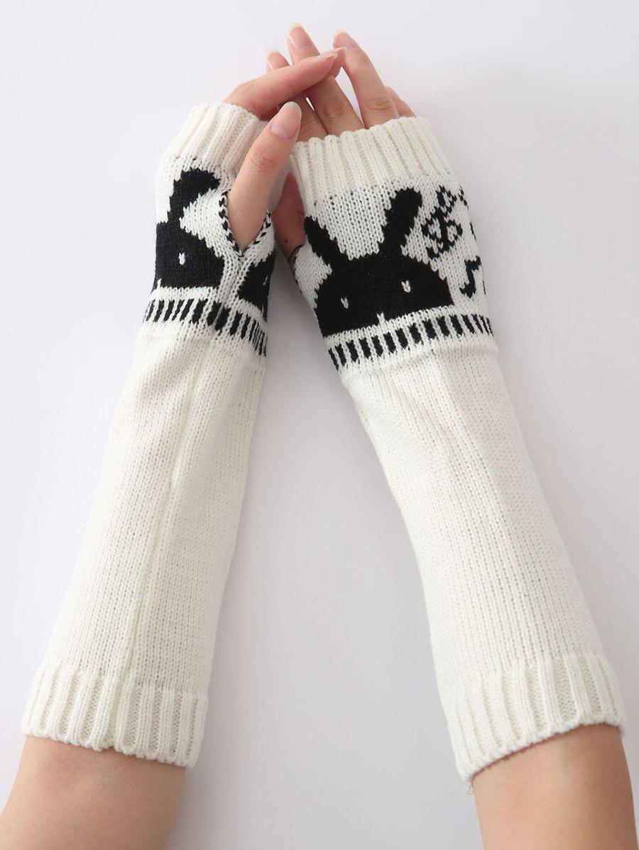 Christmas Winter Warm Rabbit Head Hollow Out Crochet Knit Arm Warmers - WHITE