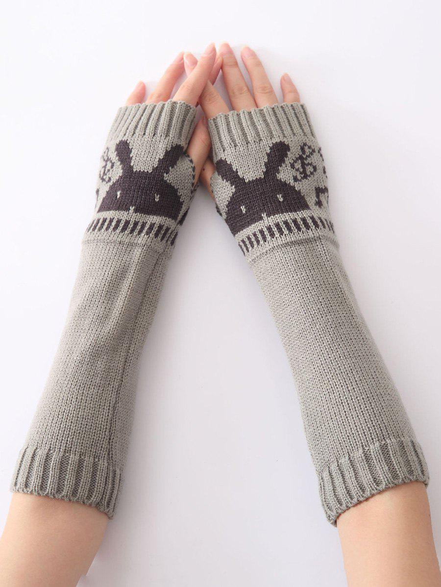 Christmas Winter Warm Rabbit Head Hollow Out Crochet Knit Arm Warmers - LIGHT GRAY