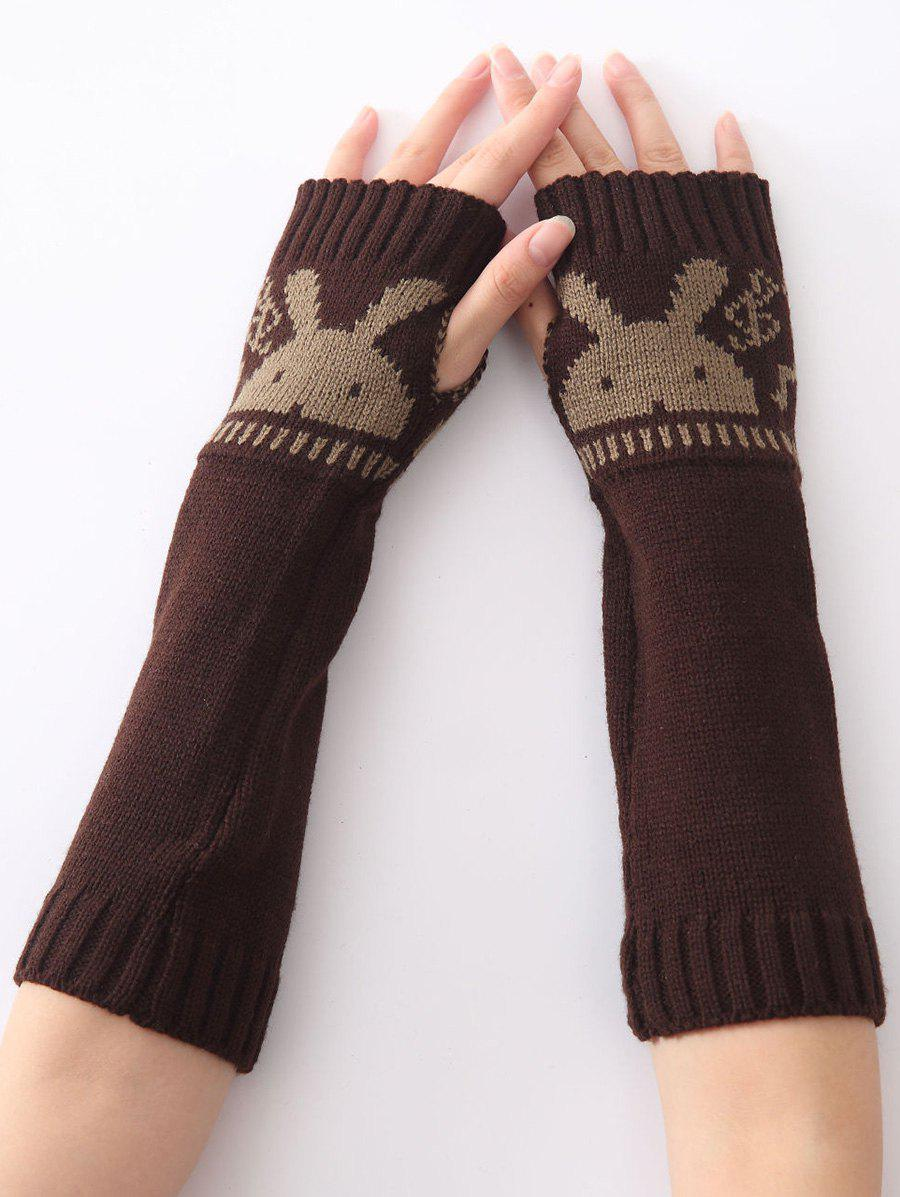 Christmas Winter Warm Rabbit Head Hollow Out Crochet Knit Arm Warmers - COFFEE