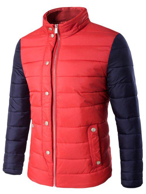 Veste matelassée Pied de col Boutton-pression Zip Up deux Tons - Rouge 5XL