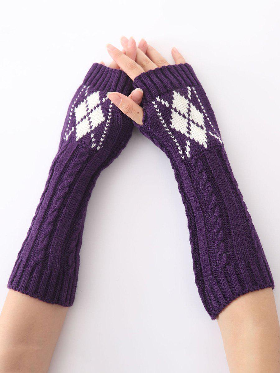 Winter Warm Hemp Decorative Pattern Diamond Crochet Knit Arm Warmers - PURPLE