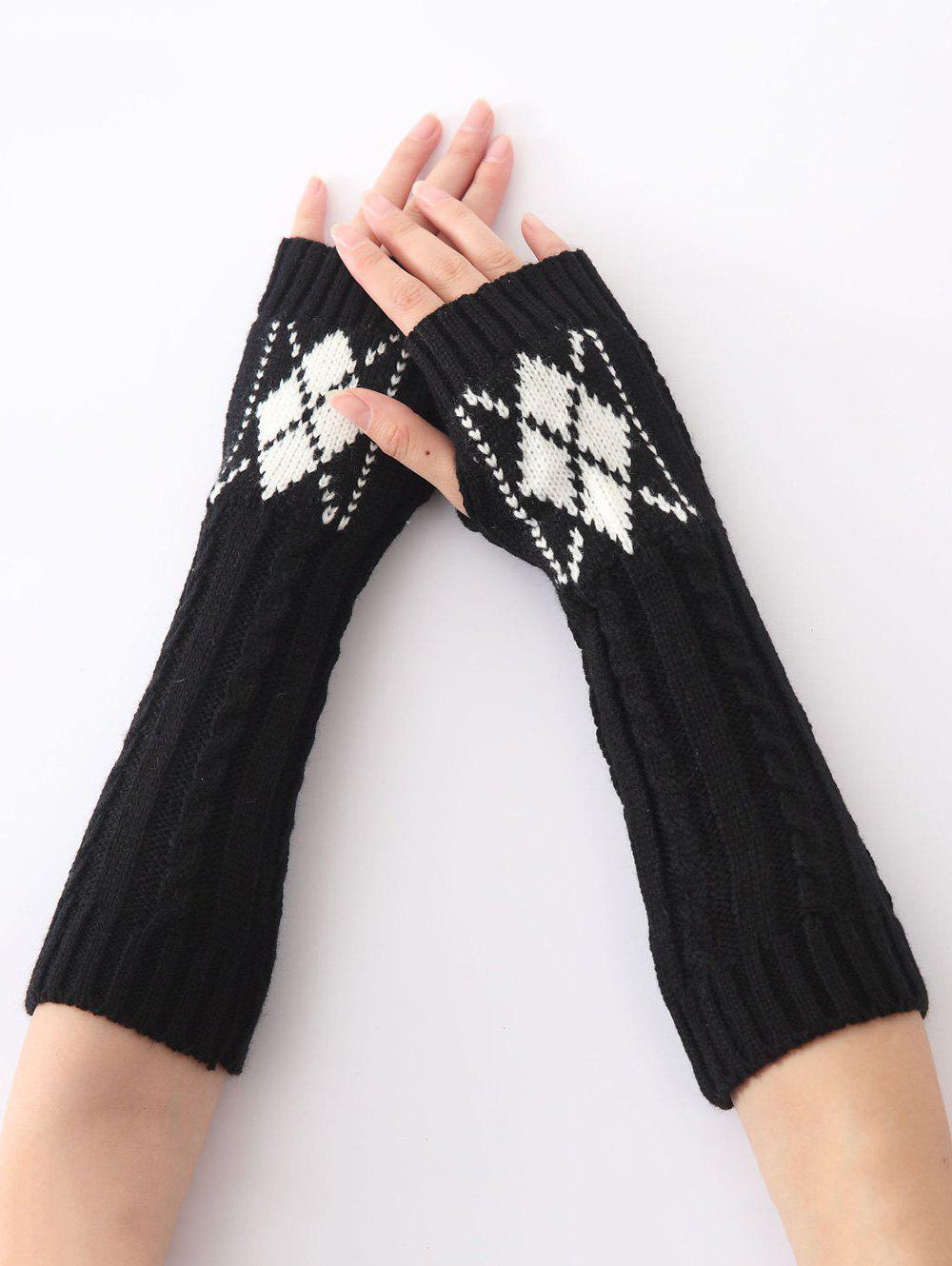 Christmas Winter Warm Hemp Decorative Pattern Diamond Crochet Knit Arm Warmers - BLACK