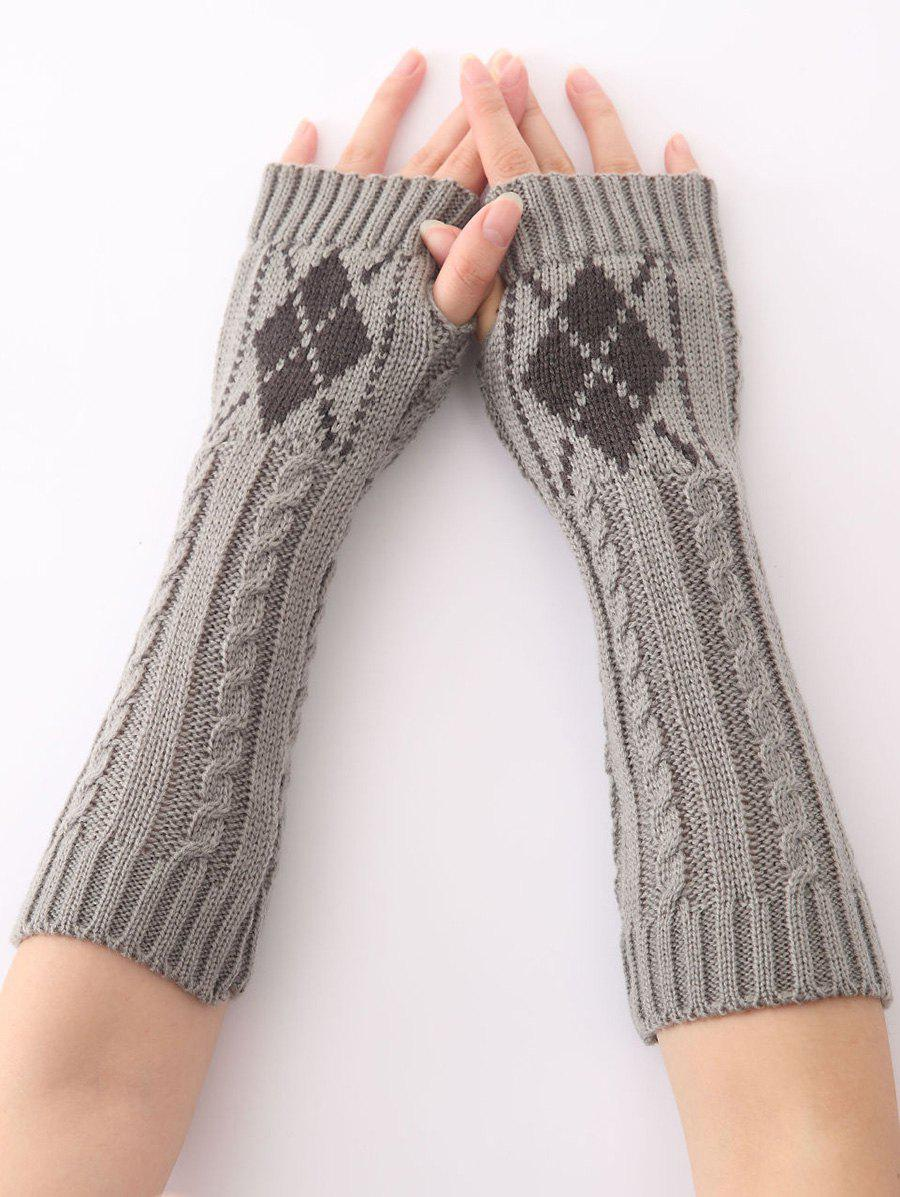 Winter Warm Hemp Decorative Pattern Diamond Crochet Knit Arm Warmers - LIGHT GRAY