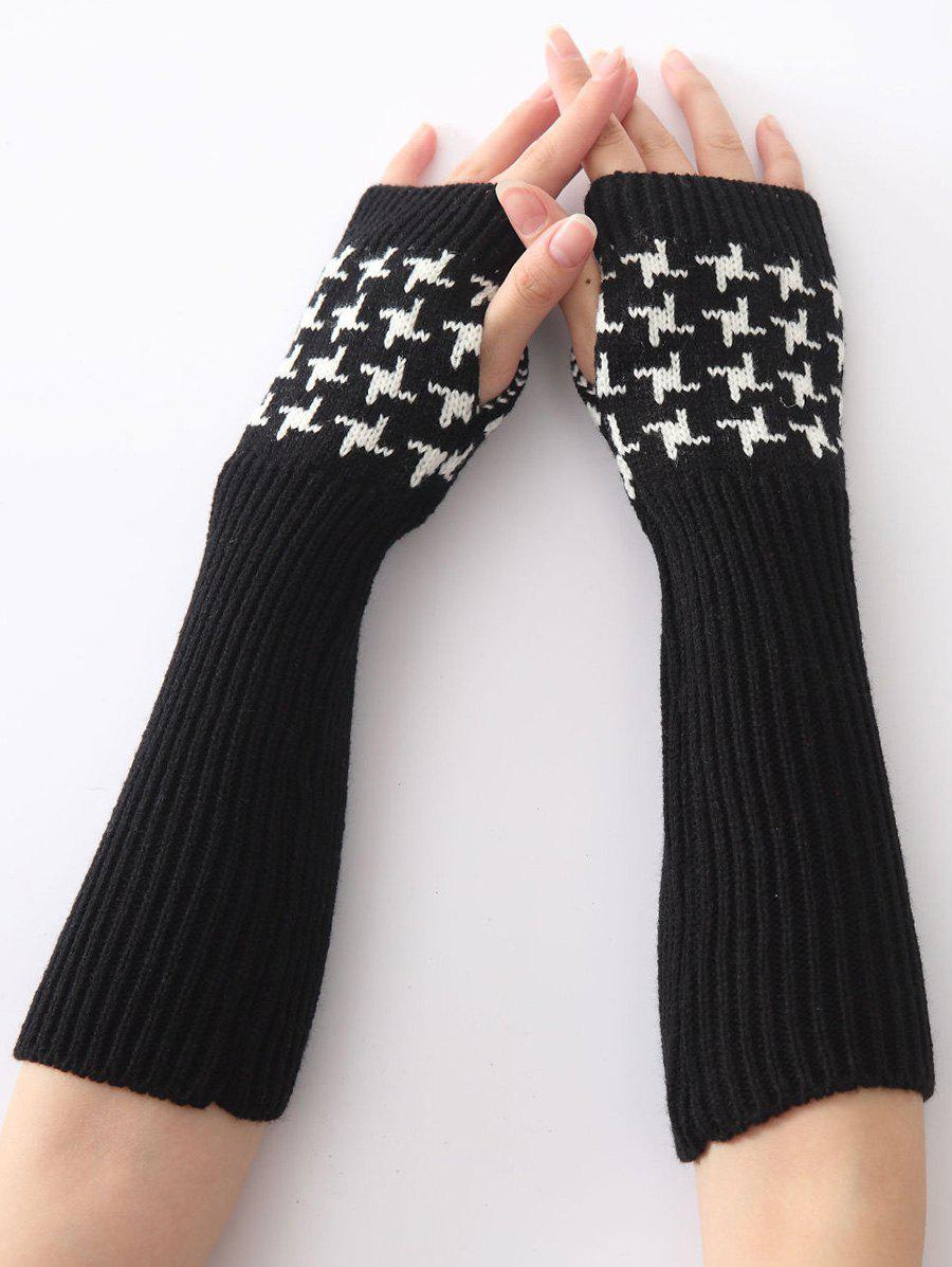 Christmas Winter Warm Vertical Stripe Plover Case Crochet Knit Arm Warmers - BLACK