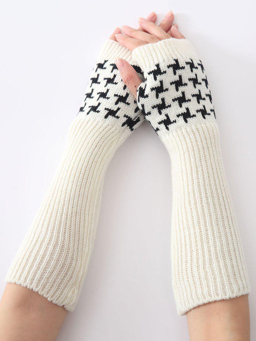 Christmas Winter Warm Vertical Stripe Plover Case Crochet Knit Arm Warmers - WHITE