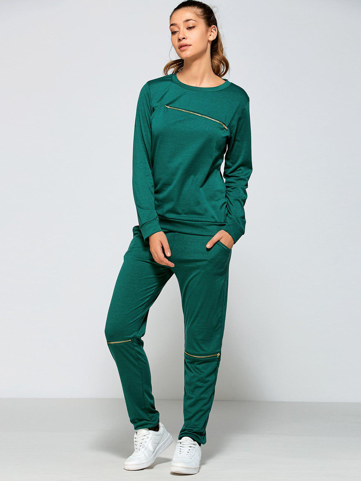 Zippered Sweatshirt and Pants with Pocket - GREEN M