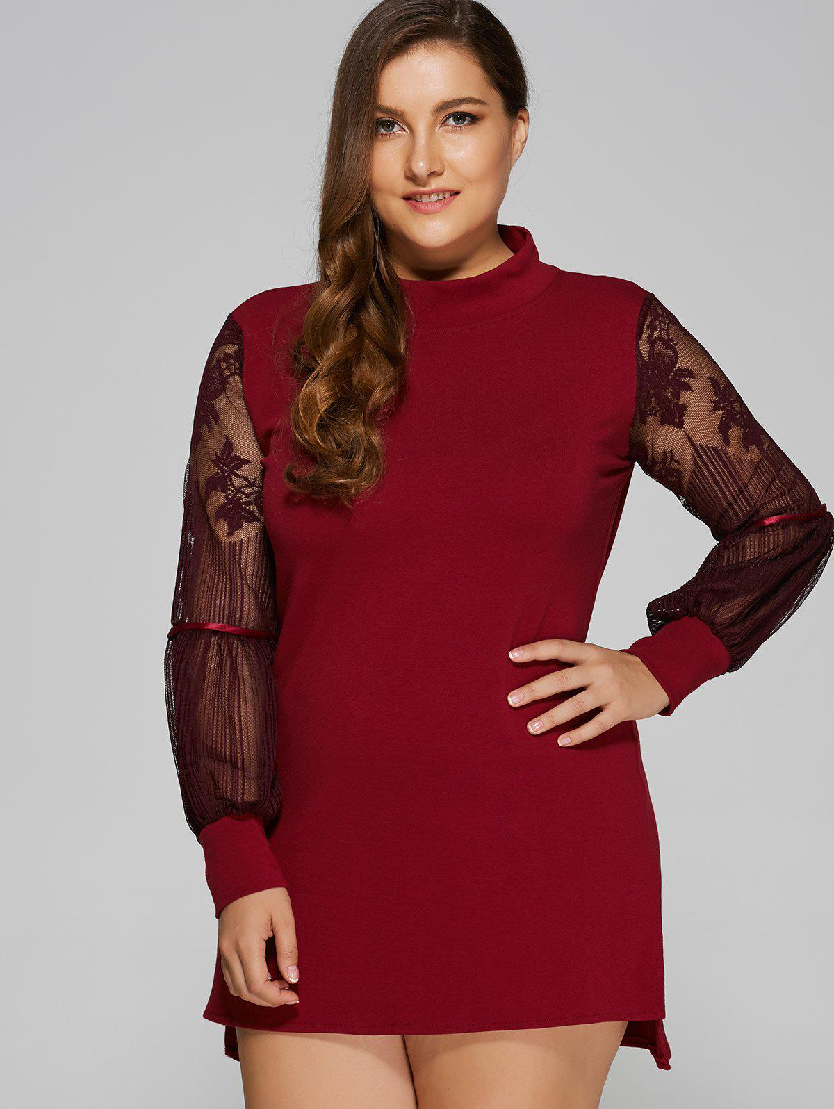 Lace Splicing Mini Plus Size Dress - WINE RED 5XL