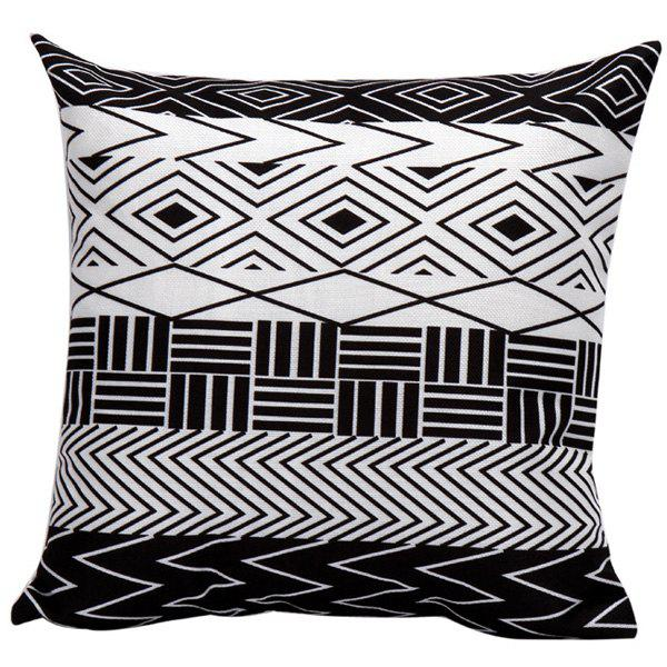 Geometrics Stripes Decorative Sofa Bed Super Soft Pillow CaseHome<br><br><br>Color: WHITE AND BLACK