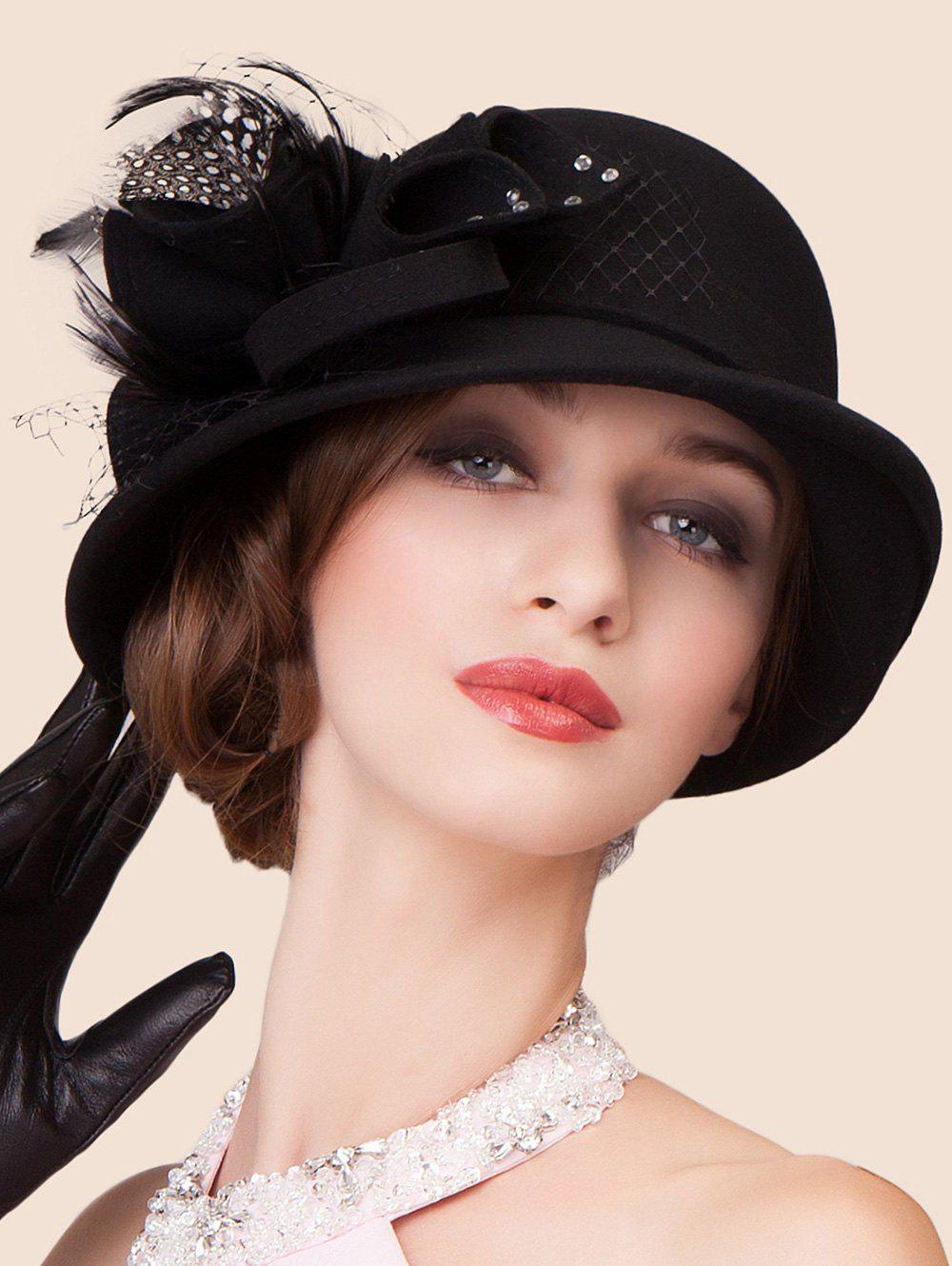 Elegant Lace Rhinestone Bowknot Fedora HatAccessories<br><br><br>Color: BLACK