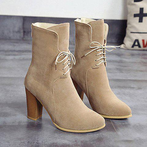 Buy Zip Chunky Heel Tie Short Boots LIGHT KHAKI