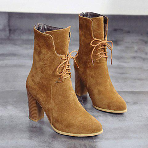 Buy Zip Chunky Heel Tie Short Boots BROWN