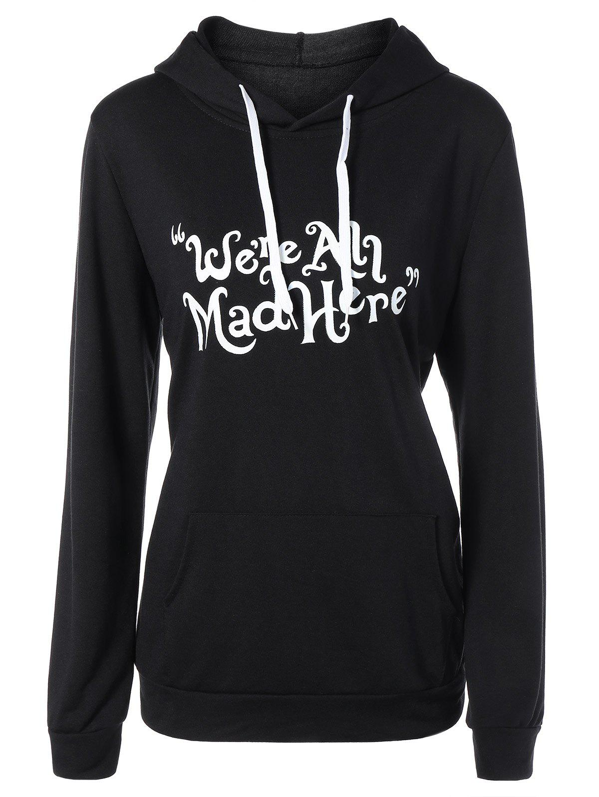 Funny Graphic Print Plus Size Hoodie - BLACK 4XL