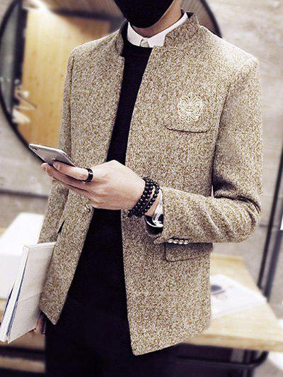 Embroidery Pocket Stand Collar Wool Coat