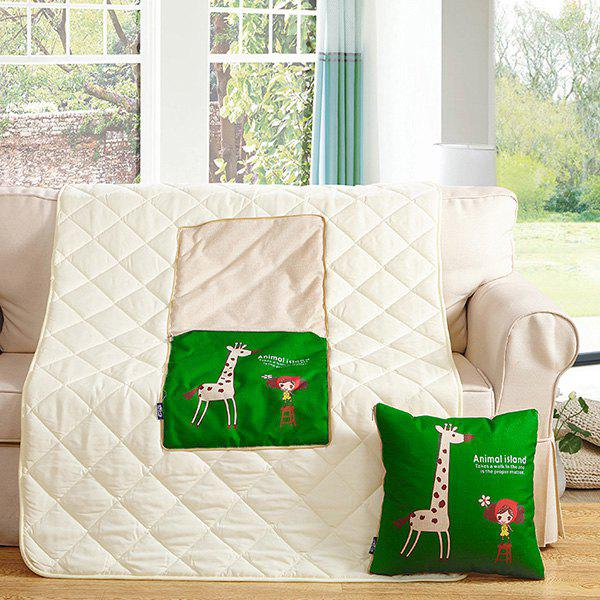 Dual Purpose Cartoon Office Cushion Pillow or Nap Quilt - DEEP GREEN