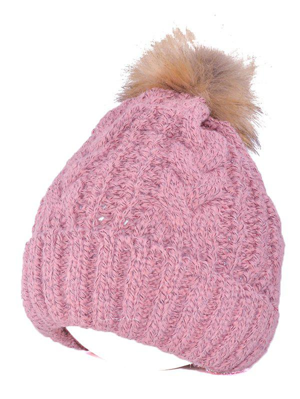 Warmer Beanie Knitted Fuzzy Ball Hat warm fuzzy ball four leaf clover pattern design knitted hat for women