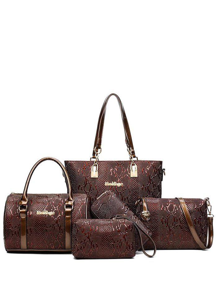 Metallic Letter Emossed Tote Handbag - COFFEE