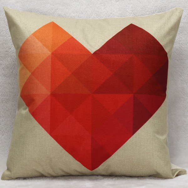 Romantic Heart Pattern Decorative Super Soft Household Pillow Case colorful letters decorative super soft household pillow case