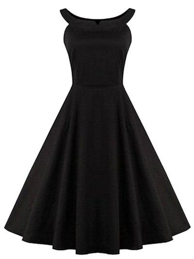 Retro froncé Hem Backless Robe trapèze - Noir L