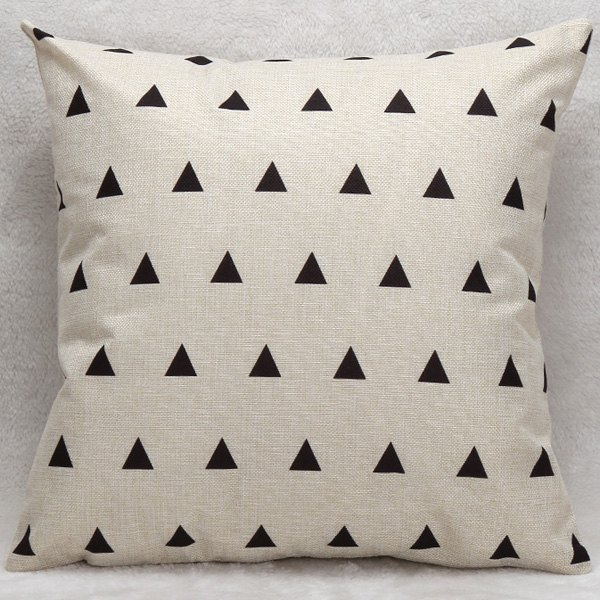 Little Triangles Decorative Soft Household Pillow Case - WHITE/BLACK