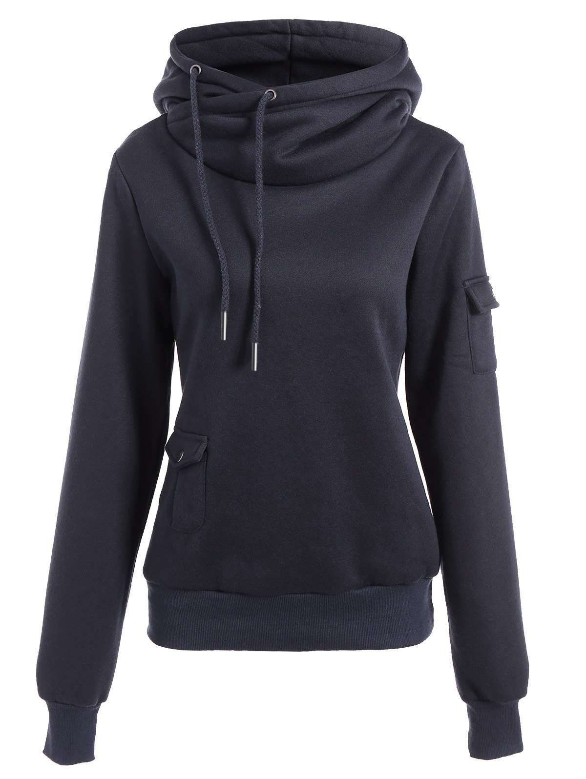 Trendy Irregular Hooded Solid Color Buttoned Hoodie For Women