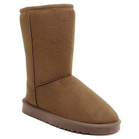 Concise Flat Heel Mid-Calf Snow Boots - LIGHT BROWN 40