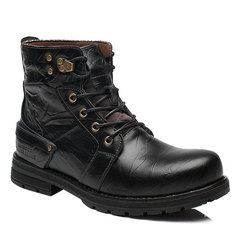 Metal Lace Up PU Leather Boots - BLACK 42