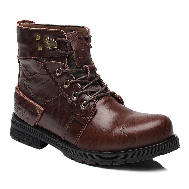 Metal Lace Up PU Leather Boots - DEEP BROWN 40