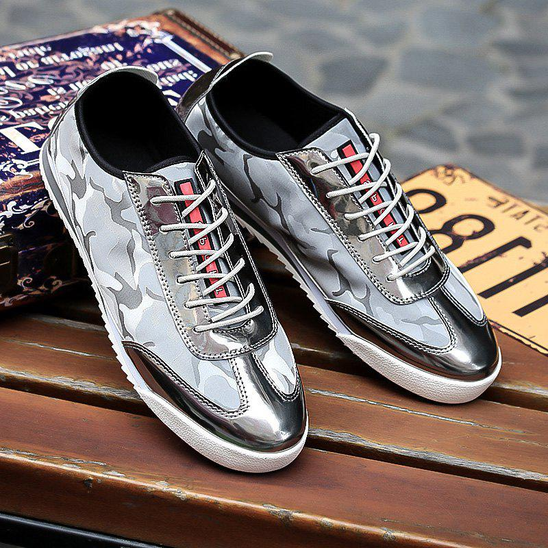 Splicing Lace-Up Camouflage Pattern Casual Shoes - LIGHT GRAY 40