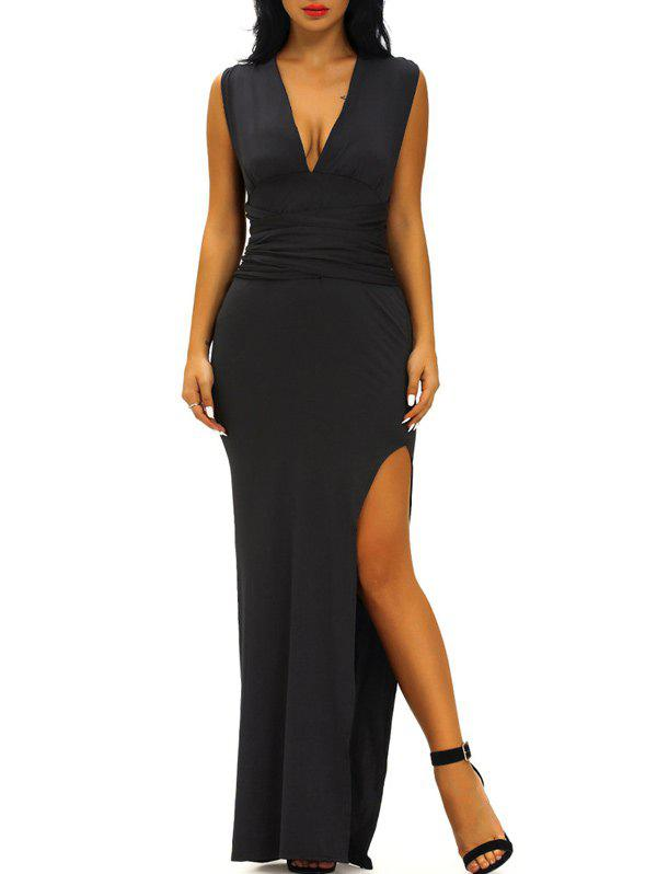 Plunging Neck Criss Cross High Slit DressWomen<br><br><br>Size: M<br>Color: BLACK