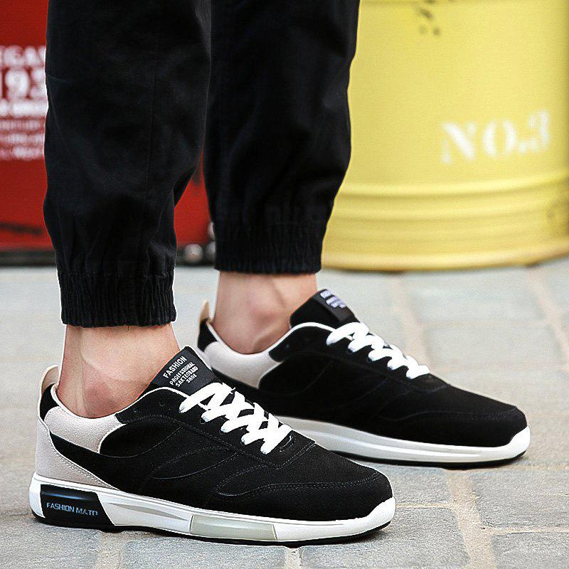 Suede Colour Splicing Tie Up Casual ShoesShoes<br><br><br>Size: 44<br>Color: BLACK AND GREY